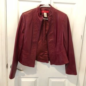 Anne Klein Red Leather Jacket